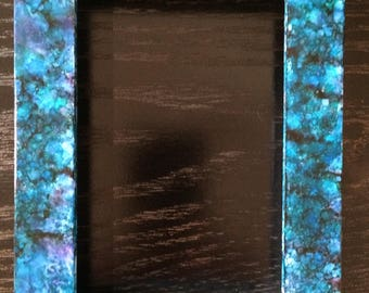 """Alcohol Ink Blue Picture Frame """"painted"""" picture frame"""