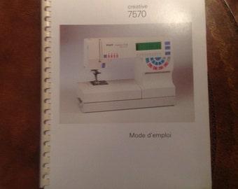 PFAFF 7570 Sewing  Machine Manual, French Language Version