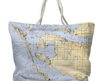 Bradenton beach bag etsy fl bradenton fl nautical chart tote bag map tote bag destination tote bag nautical tote bag gumiabroncs Images
