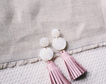 Opal Clay & Blush Pink Leather Tiered Circle Tassel Earrings