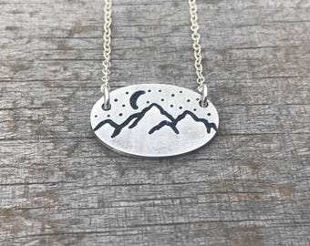 Mountain Range Necklace, Adventure, Wilderness Necklace, Rustic Jewelry, Mountain Necklace, Moon, Stars, Necklaces, Metal Hounds Jewelry