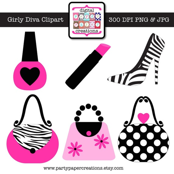 girly diva clipart graphic design hot pink zebra print rh etsy com Women's Purse Clip Art Pink Purse Clip Art