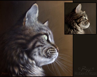 Custom Finely Detailed Canvas Cat Portrait | Original Pet Paintings on Commission | Fine Art by Roberto Rizzo