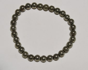 Jewelry - Bracelet Pyrite bead 6 mm - Natural pyrite bead bracelet