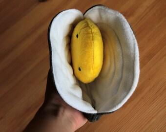 Peluche coquillage moule : kawaii mulette polaire jaune animal mollusque