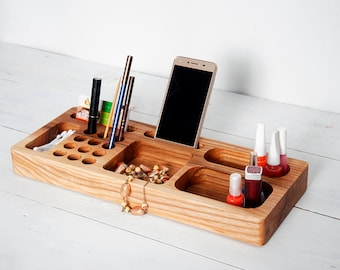 Ash Wood Makeup Desk Organizer, Cosmetic Organizer, Makeup Brush Holder, Desk Accessories for Women, Accessories Rack, Unique Gift for Women