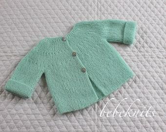 Hand Knit Round Yoke Classic European Baby Cardigan 3 to 6 Months