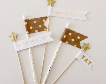 Gold & Polka Dot Birthday Cake Toppers