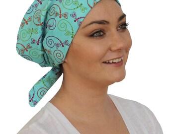 Sandra Scarf, A Women's Surgical Scrub Cap, Cancer Headwear, Chemo Head Scarf, Alopecia Hat, Head Wrap, Head Cover, Hair Loss - Dragonflies