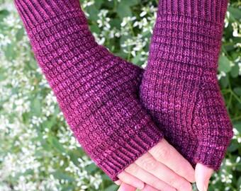 Rib Texture Knit Mitts Pattern - WOODMERE Fingerless Mitts Knitting Pattern PDF - Digital Download