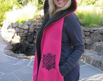 Black/Hot Pink Hooded Scarf with Pockets