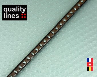 X 18 cm, 2 mm Brown camel with studs 5mm flat leather, silver rivets, 18 cm is enough to make a bracelet XL