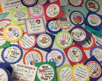 Our biggest set of LUNCHBOX LOVE NOTES EvEr!! - set of 30! Kids LoVe these poems, riddles &jokes - some PeRsonalized!! Reward tokens