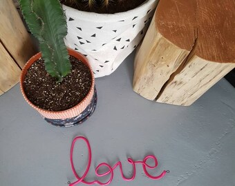 LOVE wall hanging pink fabric