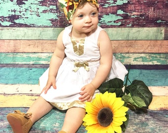 Sunflower Headwrap- Headwrap, Sunflower Head Wrap; Fall Headband; Baby Head Wrap; Baby Headwrap; Head Wrap; Big Bow Headwrap; Adult Wrap