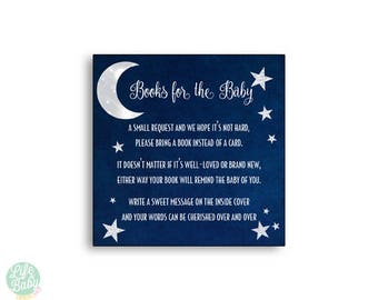 Moon Baby Shower Bring a Book Instead of a Card Invitation Inserts - Instant Download - Moon Baby Shower Neutral