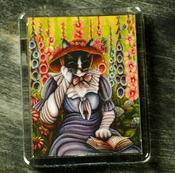 Garden Cat Magnet, Cottage Garden Literary Cat Art Fridge Magnet