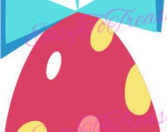 Digital Download Clipart – Spring Easter Egg Ornament Hot Pink Polka Dot JPEG and PNG files