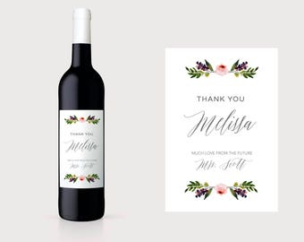 Hostess Wine label. Hostess Thank You Wine Label. Custom Hostess Wine Label. Custom Thank You Wine Label. Personalized Thank You Wine. TY7