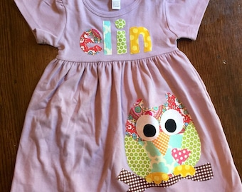 Owl Dress - Girls Dress, Toddler Dress Personalized - You Choose Dress Color