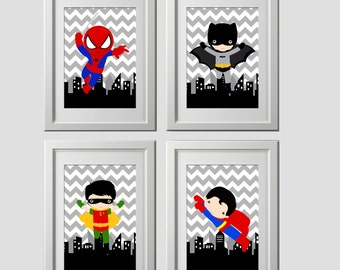superhero wall art, super hero wall art prints, shipped to your door, PICK any 4 characters, 8x10 inch each print, quality prints