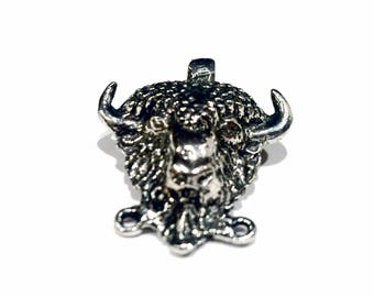 Unique Buffalo Head Design Pewter Pendant Charm for DIY Jewelry Making,  Made in the USA