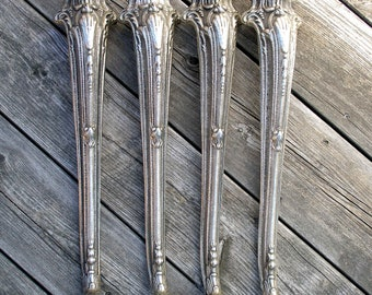 """Antique 17.3"""" (44cm) set of 4 brass ornate table legs, Antique solid brass table legs, Brass table legs, Table hardware, Console table legs"""
