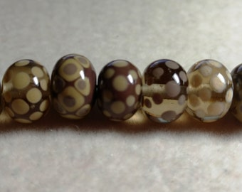 Glass Lampwork beads, 13mm x 9mm, Brown Tan, 7 beads, made in USA