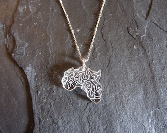 Africa Necklace Laser Engraved Sterling Silver Chain