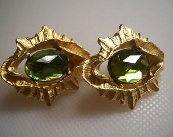 Vintage Green Rhinestone Modernist Earrings