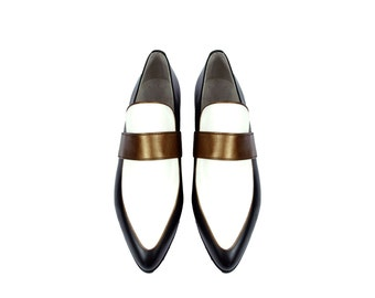 ARTEMISIA. 3 Tone Pointy Toe shoes Loafers Flats. (All women sizes) FREE shipping within the US