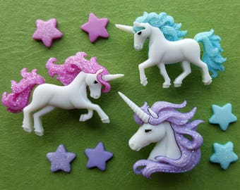 MAGICAL UNICORNS - Mythical Horse Star Fantasy Novelty Dress It Up Craft Buttons