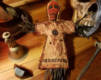 """Voodoo doll-""""Scarlet scream""""-alter doll-juju doll-voodoo witchcraft pagan wiccan occult magical decor-intentional magical workings-ritual."""