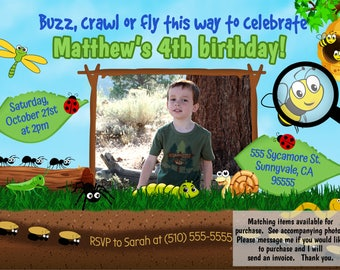 DIGITAL bugs birthday invite, bugs birthday invitation, bugs party theme, bugs birthday theme, bugs birthday party, insect party invite