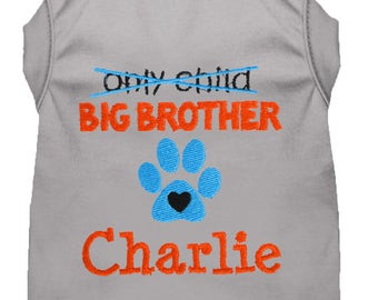 Personalized Pregnancy Announcement Dog Shirt - Big Brother To Be Dog Shirt - Embroidered Brother Pet Shirt - Baby Announcement Dog Tee