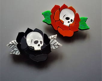 Eternal Love skull rose brooch