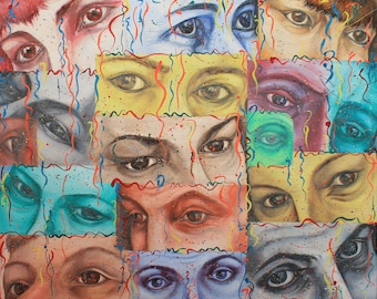 ORIGINAL Oil painting on canvas - EYES - 50 cm x 60 cm modern art impressionism Abstraction on canvas Gift to the boss