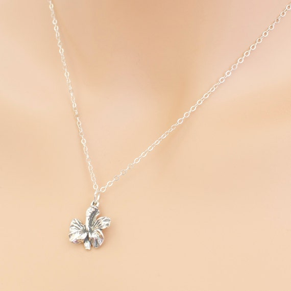Orchid Trellis New Diamontrigue Jewelry: Orchid Flower Necklace Sterling Silver Orchid Necklace