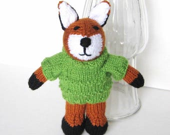 Hand Knit Woodland Stuffed Animal, Plush Red Fox Doll in Sweater, Girl Boy Toddler Kid Birthday, Newborn Baby Nursery Toy, Green Rust White