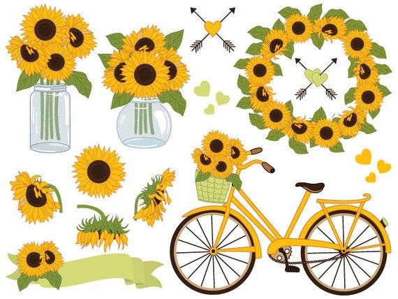 sunflowers clipart digital vector sunflowers clipart mason rh etsy com sunflower clip art black and white sunflower clip art black and white