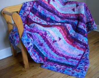 Purple Batik Quilt Lap Throw Wall Hanging Tumbling Triangles Applique Quilted Quiltsy Handmade Artisan Batiks Jelly Roll Race FREE U.S. Ship