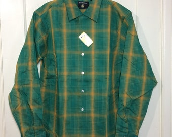 deadstock shadow plaid loop shirt size medium 15.5 long tail green yellow Sir William rockabilly grunge NWT NOS