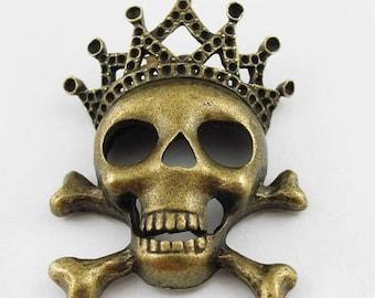 Charm/pendant in antique bronze (x 1) skeleton King