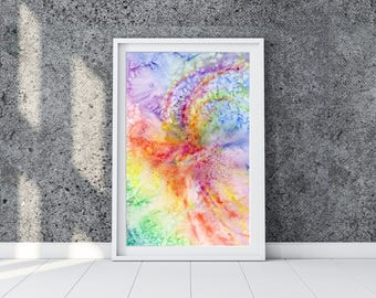 Abstract watercolor painting with multicolor waves. Watercolor colorful print. Instant download printable art. Interior art. Rainbow sky.