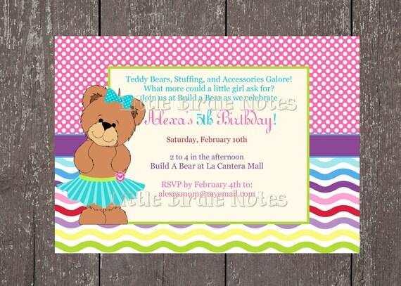 Items similar to Teddy Bear PartyBuild A Bear BirthdayPrintable