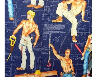Construction Men - Heavy Equipment - Navy Blue Fabric - Alexander Henry Fabric - BTY