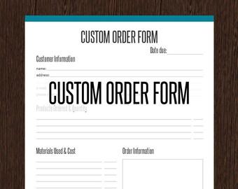 Custom Order Form - Fillable - Business Planner - Printable Organizational PDF - Instant Download - Business Organizer - Order Form