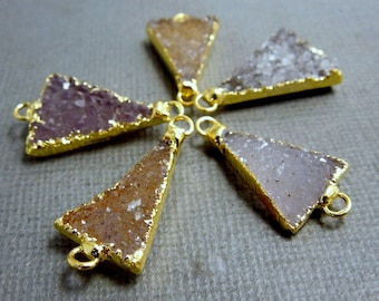 Druzy Triangle Druzzy Drusy Double Bail Triangle Charm Pendant Connector with 24k Gold Electroplated Edge (S25B3-16)