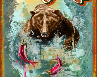 Wild Bear And Fish Metal Sign