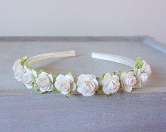 Ivory Rose Headband, Tiara, Flower Girl Headband, Flower Crown, Rose Headband, Floral Crown, Baby Headband, Toddler Headband, Wedding Hair